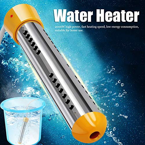 Fishlor 2000W Immersion Heater, Electric Water Heater Portable Submersible Bucket Heater with Stainless-Steel Guard Water Boiler for Pool Bathtub Household