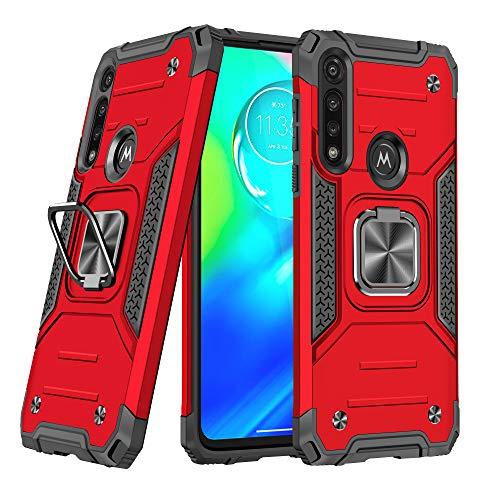 DASFOND Diseñado para Moto G Power Funda, Funda Protectora de Grado Militar para teléfono con Soporte de Anillo de Metal Mejorado [Soporte magnético] Compatible con Motorola Moto G Power, Rojo