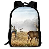 Cool Old Tractor and Cute Deer Travel Laptop Backpack Business Resistant School Computer Bag