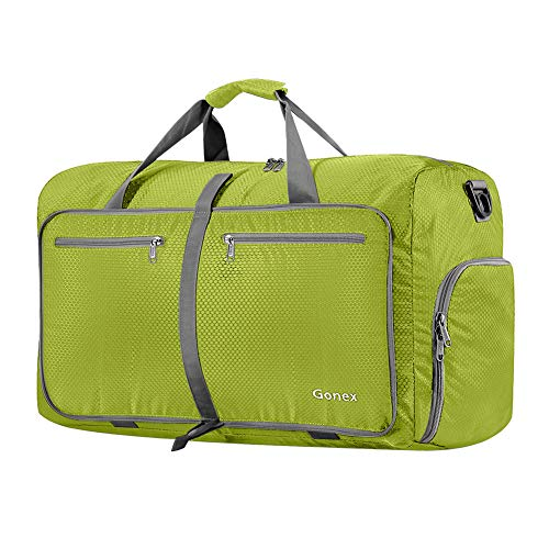 Gonex 60L Foldable Travel Duffel Bag for Luggage, Gym, Sport, Camping, Storage, Shopping Water & Tear Resistant Lime Green