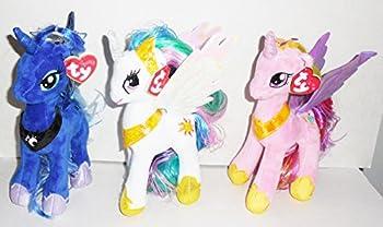 Ty Sparkle My Little Pony Set Of 3- 8.5  Plush Ponies- Princess Luna,Princess Cadence and Princess Celestia