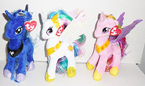 Ty Sparkle My Little Pony Set Of 3- 8.5' Plush Ponies- Princess Luna,Princess Cadence and Princess Celestia