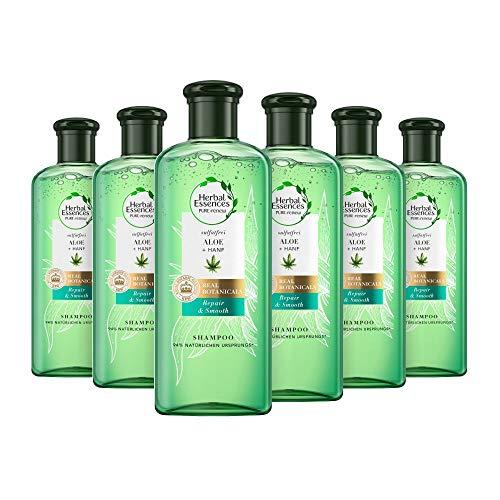 Herbal Essences Pure : Shampoing Réparateur et Lissant, sans sulfate, Pack de 6 (6 x 225 ml) avec Aloe Vera + Shampoing au chanvre, Femmes