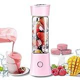 LLKK Vaso de jugo portátil de 480 ml, mini USB recargable de frutas, apto para el hogar, oficina, deportes, viajes, al aire libre, color rosa
