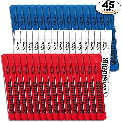 PartyMarty Multipack 45 Stück Bengalfeuer 15x rot, 15xWeißblinkend, 15xblau für Geburtstag, Jubil , Hochzeit und Silvester (45-teilig)