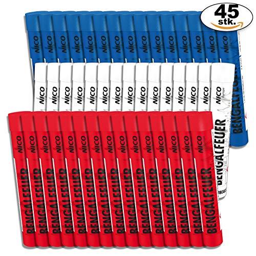 PartyMarty Multipack 45 Stück Bengalfeuer 15x rot, 15xweiß blinkend, 15xblau für Geburtstag, Jubiläum, Hochzeit und Silvester (45-teilig)