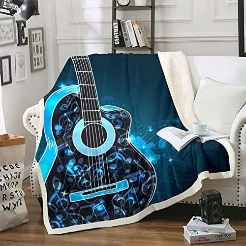 Manta de felpa para guitarra de sherpa, para niños, niñas, música de rock, instrumentos musicales, manta azul difusa para sofá cama, cama doble, 156 x 188 cm