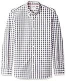 Marca Amazon – Goodthreads – Camisa de popelín a cuadros de manga larga de corte estándar y cuello con botones para hombre, Beige (Ivory Check Ivo), US S (EU S)