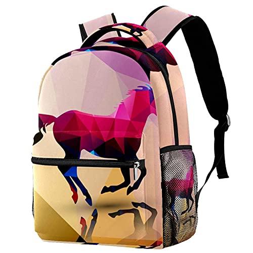 Borsa Scuola Elementare Bambino Zaini Casual e Moderni per Donna Ragazze Poligoni del cavallo Borsa da Viaggio Ideale per Adolescenti