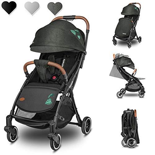 Lionelo Julie One Buggy Kinderwagen bis 22 kg verstellbare Rückenlehne und Fußstütze Moskitonetz Beinwärmer Getränkehalter und Transporttasche zusammenklappbar (Grün)