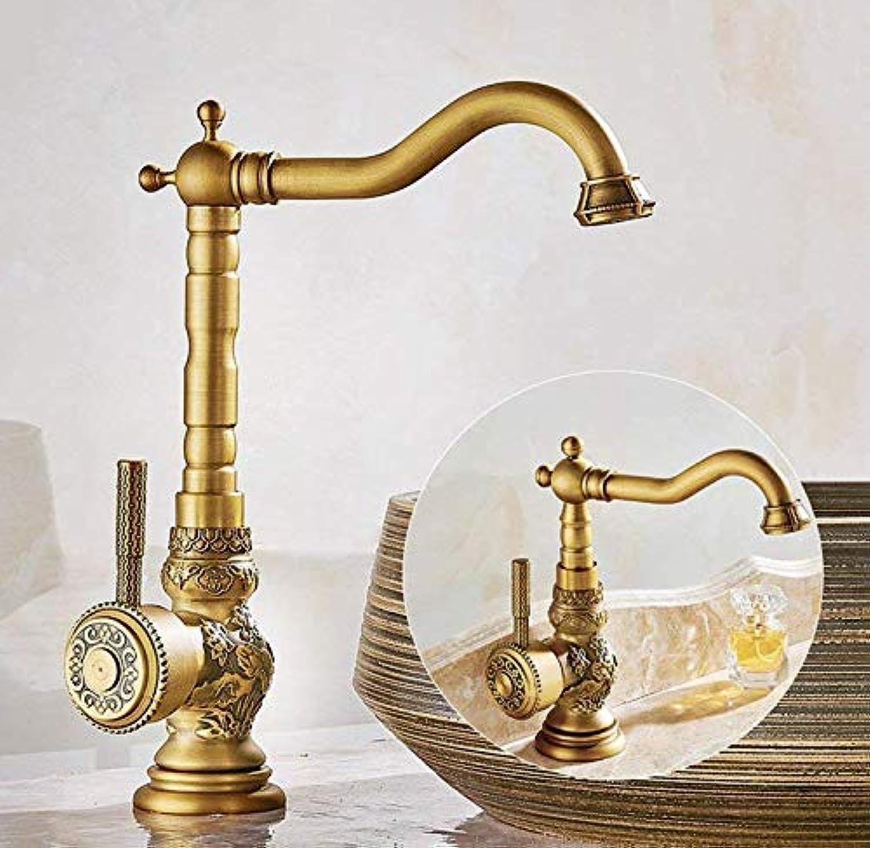 360 Degree redatable Faucet Simple Faucet Copper Faucet Hot and Cold Faucet Retro redary Basin Faucet redation Dwarf (color   High)
