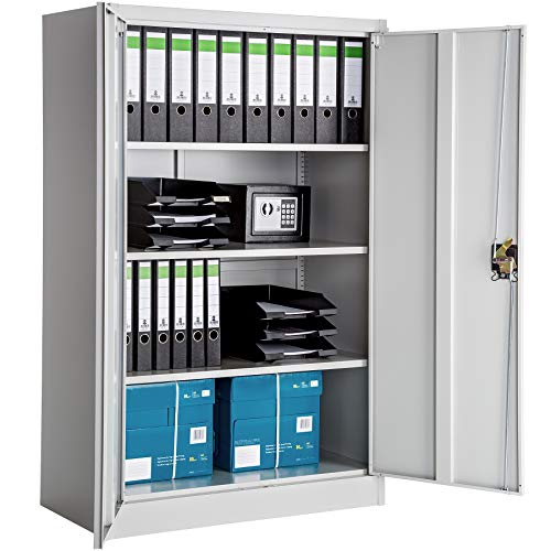TecTake Armario archivador de Oficina metálico con 2 Puertas bloqueable e estantes - Varias tamaños - (140x90x40 cm | no. 402482)