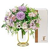 Fleurs Artificielles Deco avec Vase, Bouquet de Fleurs Artificielles Haut de Gamme, Fausse Fleur Decoration, Fleur Artificielle Deco Maison Deco Mariage, Cadeaux d'anniversaire pour Les Filles