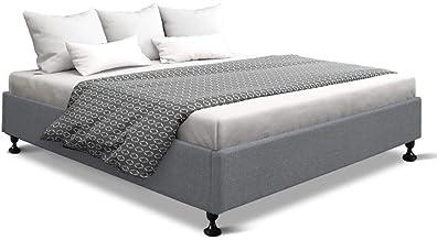 Artiss King Size Bed Base Frame Mattress Platform Fabric Wooden Grey TOMI