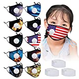 10 Pack Printed Kids Face Protection with 30 Activated Carbon Filters, Fashionable Adjustable Face Cotton with Breathing Valves