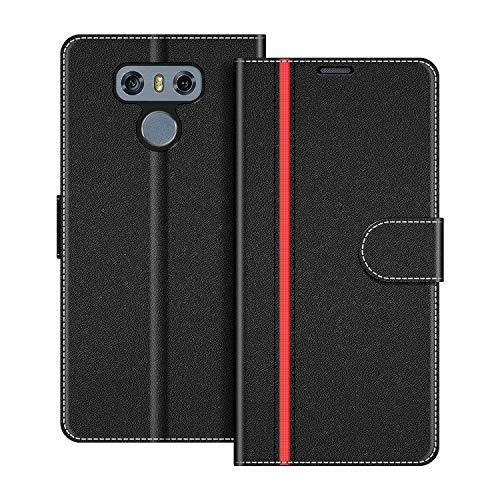 COODIO Handyhülle für LG G6 Handy Hülle, LG G6 Hülle Leder Handytasche für LG G6 Klapphülle Tasche, Schwarz/Rot