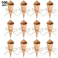 WOWOSS 100Pcs Conos Papel Arroz Boda Kraft, Conos Boda Vintage Con 100Pcs Adhesivas, 100Pcs Cuerda de Cáñamo y una Cinta Adhesiva de Doble Cara, Conos para Arroz Boda