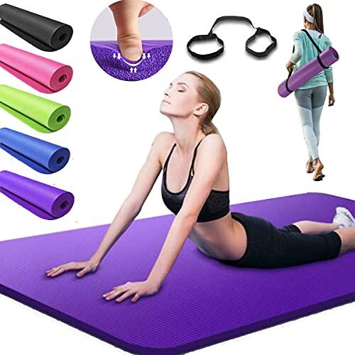 Yogamatte Rutschfest Extradick 15mm NBR Gymnastikmatte schadstofffrei Fitnessmatte mit Tragegurt Dicke Phthalatenfrei für Yoga Pilates Gymnastik - Violett