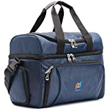 Small Cooler Bag 12x10x6.5 Inch.Two Insulated Compartment, Heavy Duty Polyester, High Density Insulation, 2 Heat Sealed Removable Peva Liner, Many Pockets, Strong Double Zipper