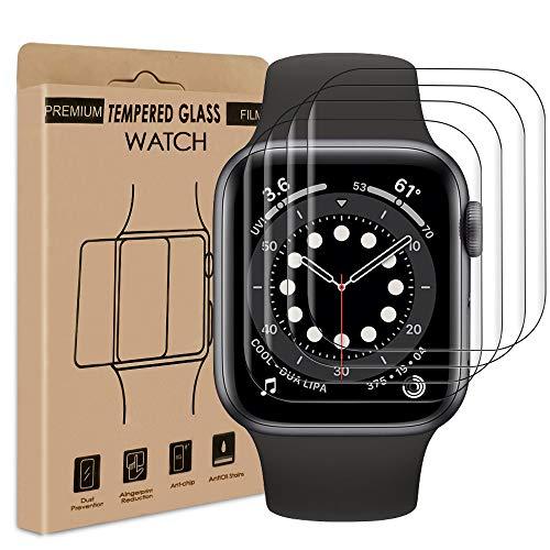wsky [4 Stück] Panzergla Schutzfolie kompatibel mit Apple Watch Series 6/SE/5/4 40mm Folie, weiche Kante Hochauflösende HD Blasenfreie Kratzfeste Displayschutzfolie
