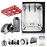 BloomGrow 60''x60''x80'' Grow Tent + 6'' Fan Filter Duct Combo + 1200W LED Light + Hangers + Hygrometer + Shears + 24 Hour Timer + Trellis Netting Indoor Grow Tent Complete Kit