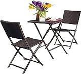 Grand patio Set da Bistrot, Set di Mobili in Rattan, 2 Sedie 1 Tavolo, Ripiegabile, con Protezione dai Raggi UV, Set arredo Giardino per Balcone, Esterno (Marrone Graduale)
