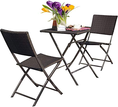 Grand patio Bistro Set 3 Pieces, Premium Rattan Wicker, 2 Chairs and 1 Table, Weather Resistant, Garden Furniture Set, Easy to Fold, Patio Table Chairs for Balcony,Yard, Garden (Gradual Brown)