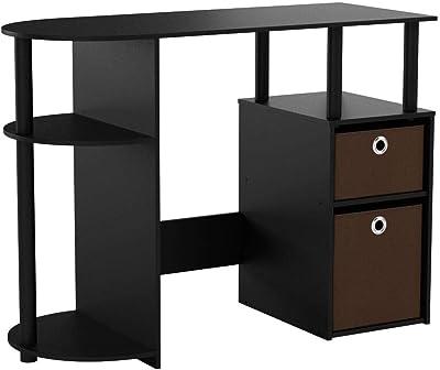 Furinno JAYA Computer/Schreibtisch mit Schubladen, holz, Braun, 97.54 x 97.54 x 72.39 cm