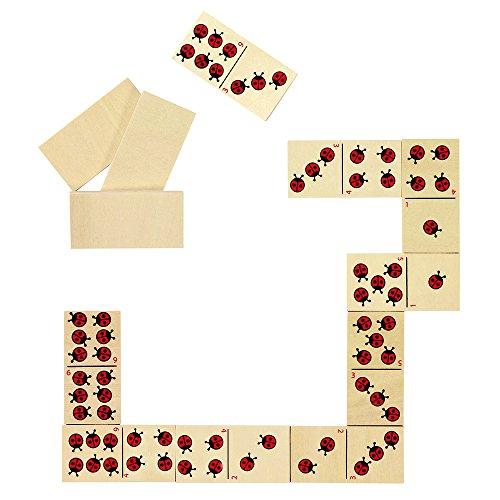 Dominospiel Marienkäfer: 6 x 3 cm, Holz, 28 Steine, per Stück