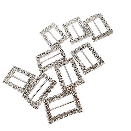 Trimming Shop Rechteck Schieber Schnalle Strassstein Kristall Diamonds Verzierung für Damen Beutel, Schleifen, Hochzeitskarten, Mode-Accessoires, 15mm X 14.5mm - Silbern, 18mm x 17mm