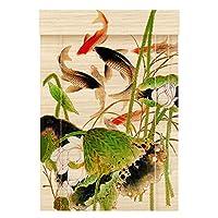 RZEMIN ロール竹カーテン 光フィルタリングパーティションカーテン、魚のパターンぶら下げ写真背景の壁の装飾、中国風 (Color : Bamboo-A, Size : 95cmx150cm)