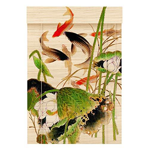 RZEMIN Cortina de Bambú, Cortina de División de Filtrado de Luz, Patrón de Peces, Imágenes Colgantes, Decoración de Pared de Fondo, Estilo Chino (Color : Bamboo-A, Size : 50cmx150cm)