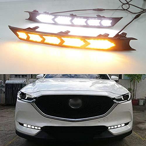 Ein Paar LED Tagfahrlicht Tagfahrlicht mit Nebelscheinwerfer für Mazda CX-5 17-18,Yellow