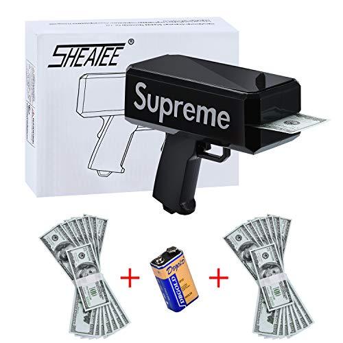 sheatee gun arma de dinero pistola de dinero pistola super arma de dinero negro que sea pistola de lluvia (batería incluida) con 20,000 $ de dinero falso, - pistola de efectivo juego de fiesta (black)