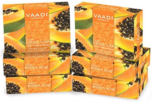Vaadi Herbal Bio-Seife Bar Frische Papaya seife Natürliche Seife Für Alle Hauttypen Sulfatfrei 6 X 75 G