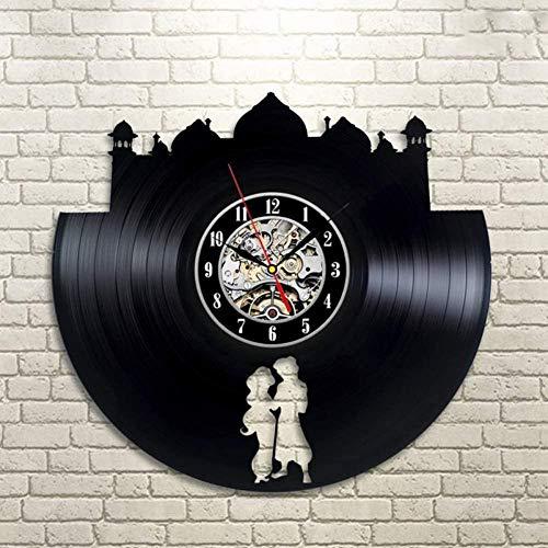 YAZCC Arte Vinilo Reloj de Pared Sala de Regalos Registro Familiar Moderno decoración Retro Caja Fuerte silenciosa-A