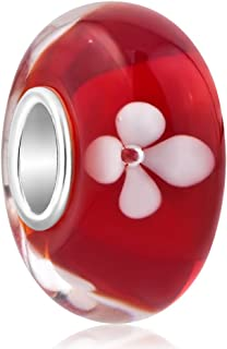 ReisJewelry Flower Lampwork Murano Glass Beads Spacer Charm with 925 Sterling Silver Core for أساور (أحمر)