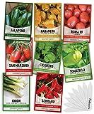 Heirloom Hot Salsa Growing Seed Packets 8 Varieties Habanero, Jalapeno, Serrano Peppers, Roma, San Marzano Tomato, Cilantro, Green Onion, Tomatillo for Garden Non-GMO Heirloom Gardeners Basics