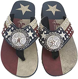 Ladies Flip Flops Texas Lone Star Flag Navy Blue, 11 M US