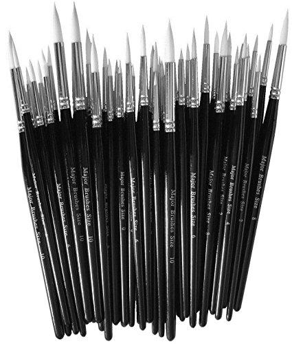 Major Brushes 15153450 - Confezione da 50 pennelli da Pittura Sintetica, Varie Misure