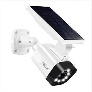 Solar Powered Motion Sensor Light and ETROBOT Dummy Fake Security Camera Combo with PIR Activated 800 Lumen Spotlight, IP66 Waterproof Solar Night Light Outdoor for Yard, Garden, Driveway, Patio