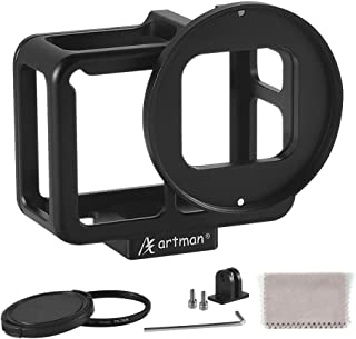 Artman Aluminum Alloy Housing Hollow Frame Case for Gopro Hero 7 Black/Hero 6/Hero5/Hero(2018) Action Camera-Good GPS/Wi-Fi Signal Receiving, Metal Protective Frame with Back Door and 52mm UV Filter
