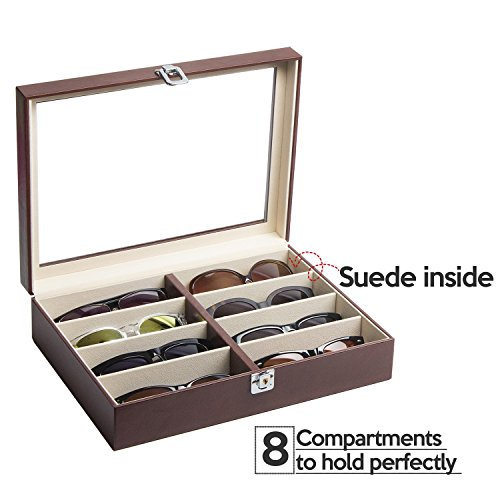 JackCubeDesign Leather 8 Compartments Eyeglass Display Organiser Eyeglasses Sunglass Storage Case Box Eyewear Tray Stand Suede Inside with Acrylic Cover(Brown, 44.2 x 17 x 5cm) – :MK379B