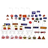 Kisangel 56Pcs Street Road Signs Playset Traffic Signs Playset Mini Electric Traffic Lights Toy Road Signs for Children Play