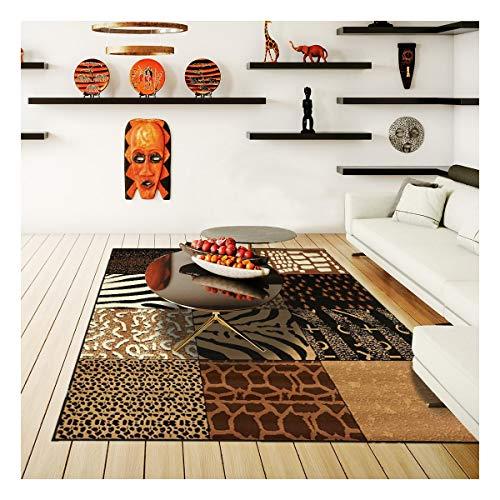 DEZENCO - Tappeto di design e moderno, 280 x 365 cm, rettangolare, BC Savana Patchwork Beige grande soggiorno adatto al riscaldamento da pavimento