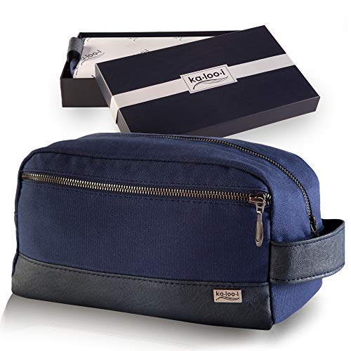 Toiletry Bag for Men or Women - Canvas Dopp Kit for Travel, Gym, Grooming & Shaving, Waterproof Lining, 10' x 4.5' x 5.5', Blue Color with Vegan Leather Trim, Comes in Gift Box by Kalooi