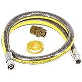Manguera de suministro de gas spares2go universal para cocina de horno, cinta de tubería de PTFE y microconector (4 pies y media pulgadas, bayoneta, BS EN14800 CE)