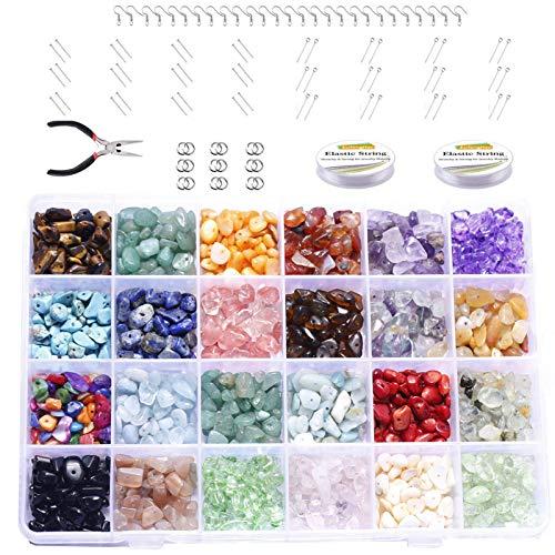 Honeyhouse Cuentas de piedra irregulares, cuentas de piedras preciosas naturales, chips de cristal, cuentas de piedras preciosas para bricolaje, collares, pulseras, pendientes, suministros de joyería