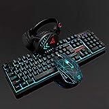 Teclado para juegos 4pcs Gaming PC Headset teclado 1600 Sensación de ratón de pastillas de Mecánica de luz de fondo del USB del ordenador portátil con conexión de cable for la computadora de escritori