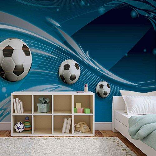 Fußball Blaue Bahn - Forwall - Fototapete - Tapete - Fotomural - Mural Wandbild - (3385WM) - XXL - 206cm x 275cm - VLIES (EasyInstall) - 2 Pieces
